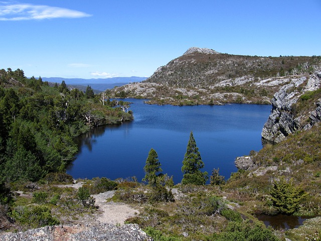 Mountains Lake Track Tasmania Landscape Hiking